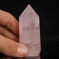 81g 69mm Natural Pink Rose Quartz Crystal Point/Tower Healing Obelisk Wand