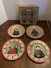 Oneida Holiday Cats Set of 4 Stoneware Salad-Dessert Plates by Fiddlestix w/box