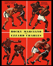 Rocky Marciano vs Ezzard Charles Poster of Fight Program (1954), 8x10 Photo