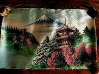 Antico Quadro Cinese Giapponese Ricamato Ricamo Seta Arte Orientale