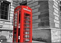 Rouge Téléphone Boite En London Métal Mural Signe 200mm x 140mm (2f)