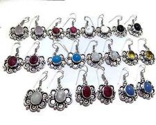 Designer Lot !! 50 Pair Rose Quartz Gemstone 925 Sterling Silver Plated Earring