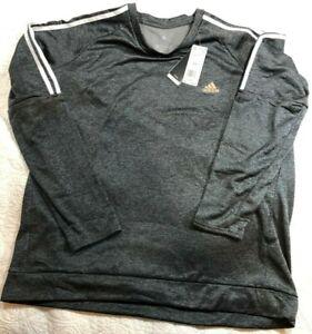 NEW Adidas Men's XXL 2XL Own the Run 3-Stripes Gray Crew Sweatshirt DW5993