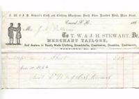 Vintage Illustrated Billhead TW & JH STEWART Merchant Tailors Concord NH 1866