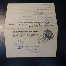 ETATS UNIS USA LETTRE COVER ENTIER POSTAUX AVEC RÉPONSE CAD FOSTORIA 1899