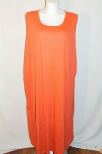 4X Only Necessities Women Plus Size Orange Sleeveless Knit Lounger Dress EUC