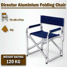 Directors Aluminium Folding Chair Camping Picnic Director Fishing Foldable Navy