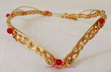GWEN GOLD & GARNET GLASS CELTIC FANTASY CIRCLET ADJUSTABLE LARP REN MERLIN