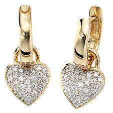 NEU Luxus Diamanten Creolen Ohrringe Herz Anhänger 14 Karat Gelbgold 585 0,25 ct