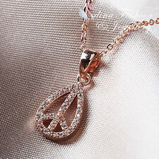 18K Rose Gold Plated Diamond Studded Delicate Airplane Teardrop Necklace