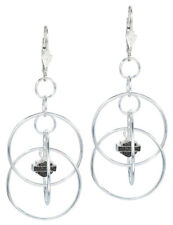 Harley-Davidson Women's Earrings, Multi Hoop Bar & Shield Dangle, Silver HDE0055
