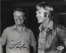 President Jimmy Carter Signed 8X10 B&W Robert Redford Autograph Beckett Coa Bas