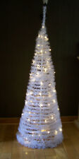 6ft White Pop Up Christmas Tree Pre-Lit with 100 Warm White LED Lights 60cm Dia