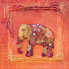 "thai indian elephant art painting print 39"" x 39"""