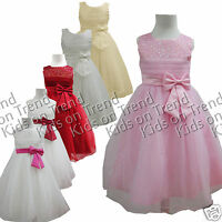 Flower Girl Dress BRIDESMAID DRESS sleeveless SEQUINS Formal Occasion BOW 2-12 Y