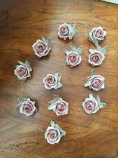 12 Vintage Stamped German Porcelain Flower Floral Name Place Card Holders