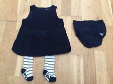 Baby Gap Girls Navy Party Dress/Tunic With Tights 3-6 Months