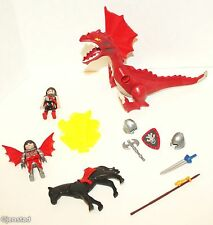 14 PC PLAYMOBIL TOY DRAGON ROCK 5840 HORSE KNIGHT FIGURE SHIELD MISSING PIECES