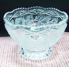 Crystal etched satin rose with leaf design candy, dip, relish footed bowl