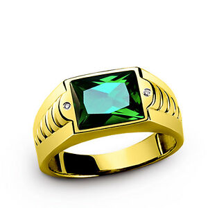 Green Emerald in Mens SOLID 10K Yellow Gold Gemstone Ring with Diamond Accents