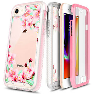 For iPhone 6 6s 7 8 Plus Case Full Body Flower Cover + Built-In Screen Protector