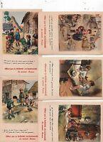 POULBOT.  Ligue Nationale contre le taudis. 5 cartes 1939 avec pub Jacquemaire