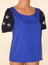 NWT Lauren Conrad Woven Blouse Sequin Floral Embellished Sleeve Women's XS Blue