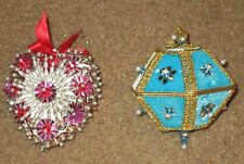 2 VTG BEADED XMAS ORNAMENTS UNIQUE HEART & BLUE VELVET LANTERN CRACKER BOX EXC