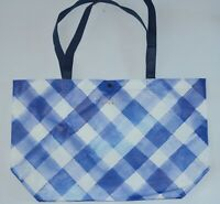 BATH BODY WORKS BLUE GINGHAM SHOPPING BAG TOTE LARGE VIP HANDBAG SHOULDER PURSE