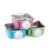 Hang-on Bowl Metal For Pet Dog Cat Crate Cage Food Water Bowl Stainless Steel ~