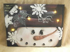 Snowman Snowball Christmas Holiday Lighted Canvas Wall Decor Sign Winter Time