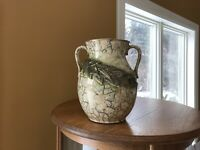 McCoy Vintage Lrg. Pottery Vase Crackle Gold Beige/Cream Green Leaf-Handles 9.5""
