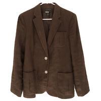 Lauren Ralph Lauren Women's 100% Linen Brown Blazer Suit Jacket Size 10