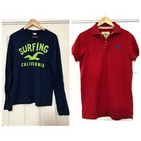 x2 Hollister T Shirt Polo Neck Long/ Short Sleeve Size Medium M Red Navy (C459)