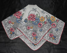 vintage handkerchief Flower Basket sweet old thing Memory shabby cottage chic