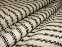 Harrogate Herringbone Black Beige Cotton Ticking Upholstery Craft Cushion Fabric