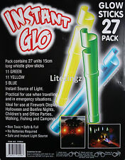 NUOVO 27 Pack Instant Glow Stick con fischio.15 cm di lunghezza. emergenza, Party Bags GLO
