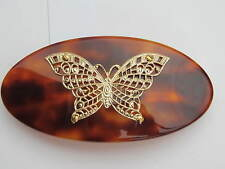 France Luxe Gold Butterfly Brown Barrette Hair Clip