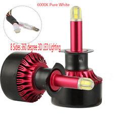 A pair H1 8-sides 360° LED Headlight Bulbs Kit 100W 15000LM High Beam White