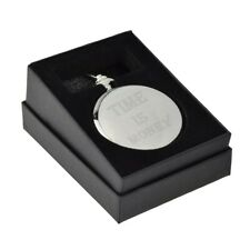 "Engraved ""Time is Money"" Design Silver Pocket Watch Boxed XCPW9"