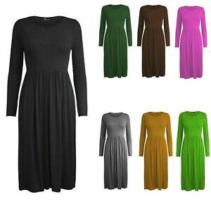 Ladies Women Frankie Swing Dress Flared Skater Jersey Long Sleeve UK Sizes 8-26.