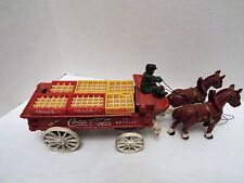 Vintage Coca - Cola Cast Iron Delivery Wagon With Driver, Horses and Crates