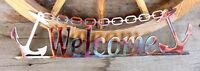 """Anchor Welcome Metal Wall Art Sign  19 1/2"""" x 5 1/2"""""""
