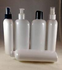 White PET 8 oz Cosmo Oval Plastic Bottles w Pump Spray, Dispensing Caps, Lotion