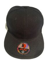 New Plain Black Flat Fitted Cap Size 7 3/8