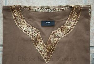 Viking Saxon Tunic Brown + Gold Trim Re-enactment Historically Accurate 100% Cot