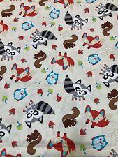 Mushroom Hedgehog Owl Fox Raccoon Cream Cotton Fabric Timeless Treasures C2598