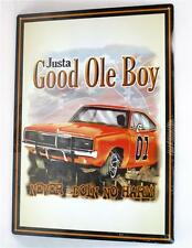 69 Dodge Charger General Lee Dukes of Hazzard Justa Good Ole Boy Metal Sign