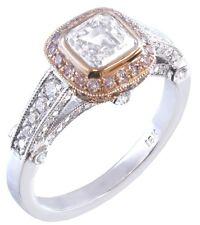 18K WHITE GOLD ASSCHER CUT PINK DIAMOND BEZEL ENGAGEMENT RING 1.65C H-VS2 EGL US