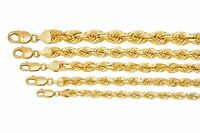 """10K Yellow Gold 6mm-10mm Diamond Cut Solid Rope Chain Pendant Necklace 16""""- 32"""""""